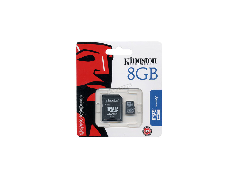 MicroSD-Kingston-C4-08G: Kingston SDC4/8GB Micro SDHC Class 4 Flash Card - 8GB