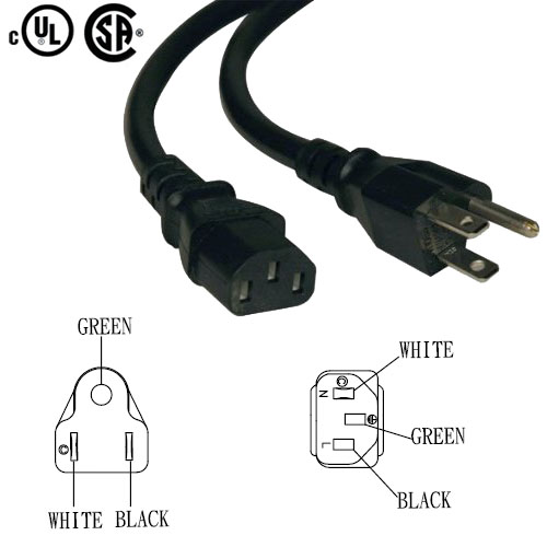 PC-515C13: 1 to 25 foot wall outlet to CPU power cord NEMA 5-15P to IEC-C13 -18AWG