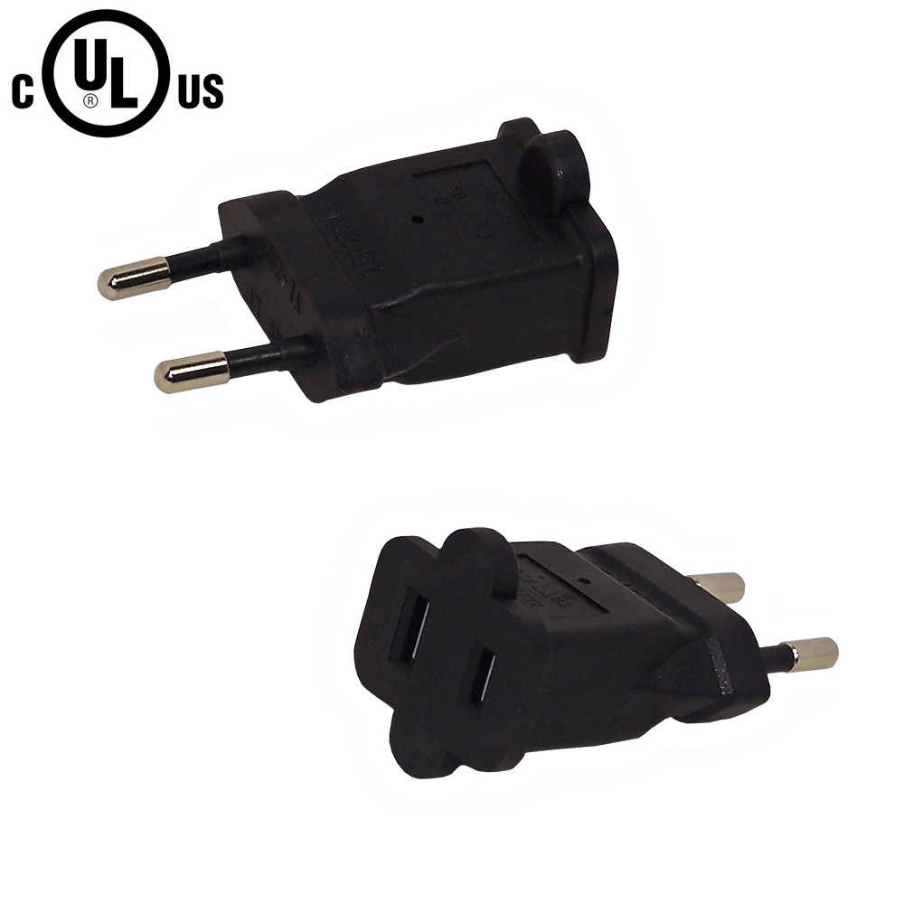 HF71615RA: CEE 7/16 (Euro) Male Plug to 1-15R Female Receptacle Power Cord Converter Adapter