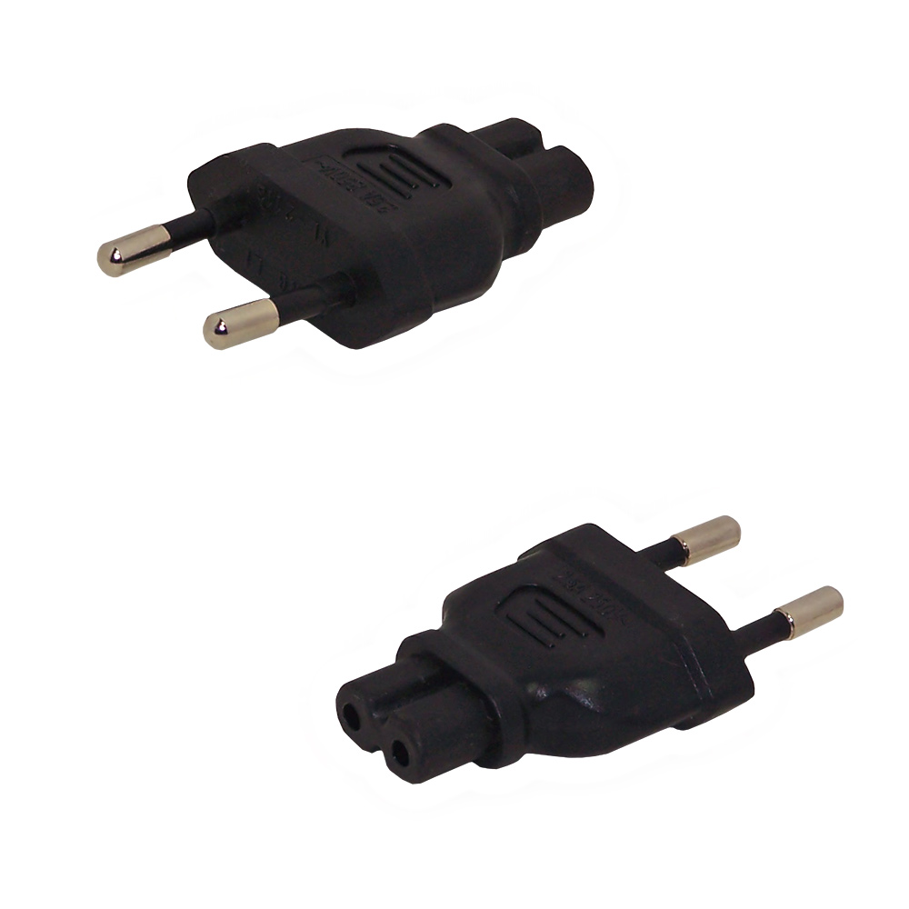 HF716MC7MA: CEE 7/16 (Euro) Male Plug to C7 Male Receptacle Power Cord Converter Adapter