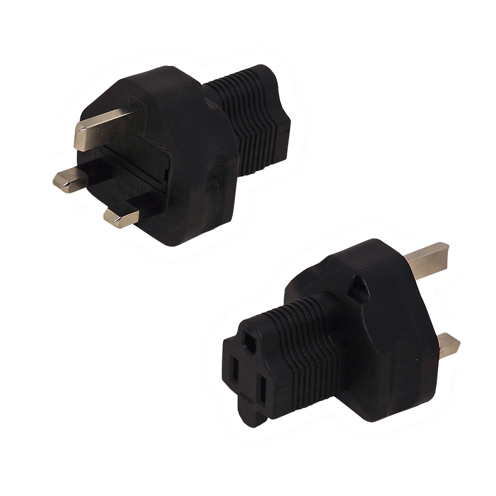 HFBS1363M515RFA: BS1363 (UK) Male to 5-15R Female Receptacle Power Cord Converter Adapter