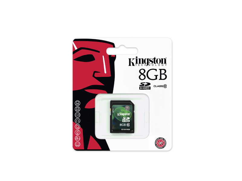 SD-Kingston-C10-08G: Kingston SD10V/8GB SDHC Flash Memory Card - 8GB, Class 10, 10MB/s Write Speed, Plug & Play
