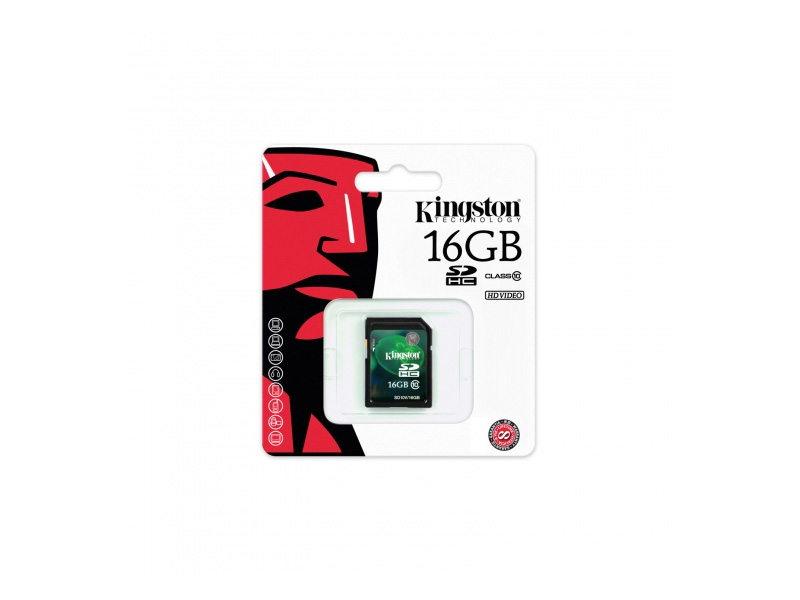 SD-Kingston-C10-16G: Kingston SD10V/16GB SDHC Flash Memory Card - 16GB, Class 10, 10MB/s Write Speed, Plug & Play