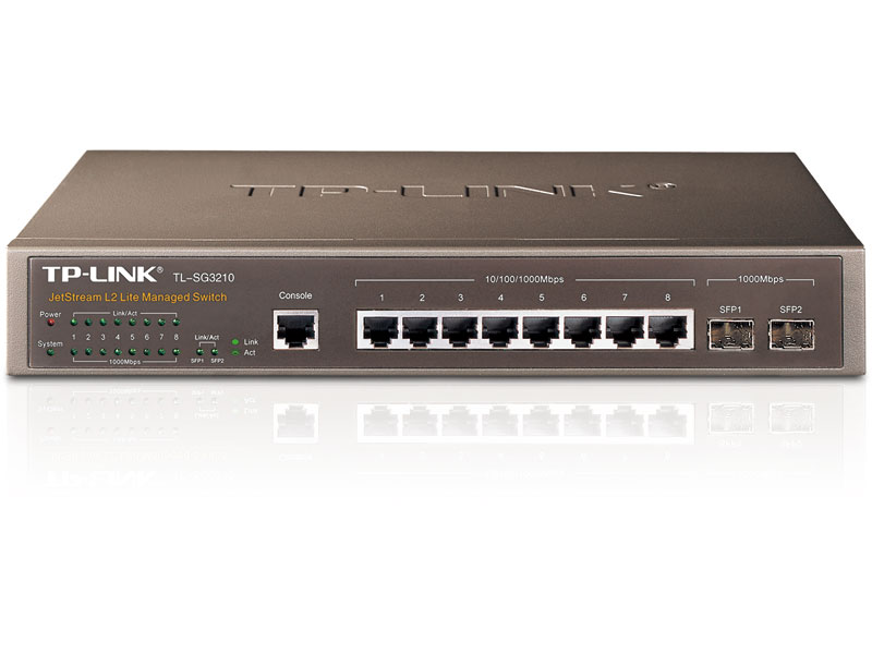 "TL-SG3210: JetStreamâ""¢ 8-Port Gigabit L2 Managed Switch with 2 SFP Slots"