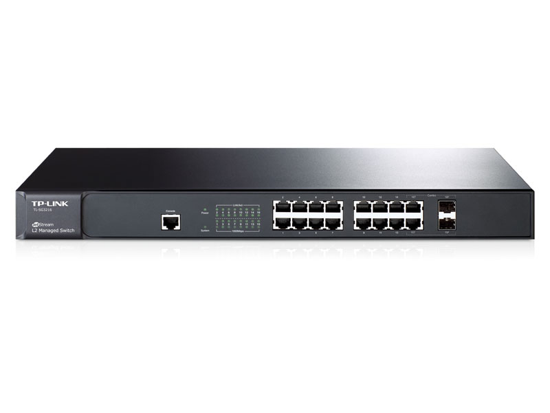 "TL-SG3216: JetStreamâ""¢ 16-Port Gigabit L2 Managed Switch with 2 Combo SFP Slots"
