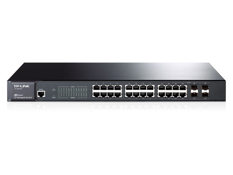"TL-SG3424: JetStreamâ""¢ 24-Port Gigabit L2 Managed Switch with 4 Combo SFP Slots"