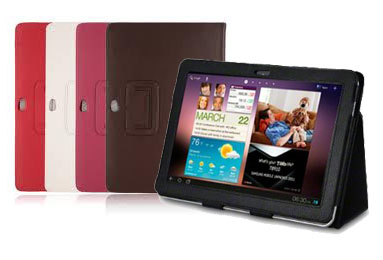 "SG-tab10-F: Flipper PU Case for Samsung tab/tab2 10.1"" P7500/7510/P5113 Tablet, Black/Brown/Blue/Red"